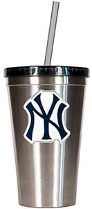 MLB Yankees 16oz Stainless Steel Tumbler w/Straw