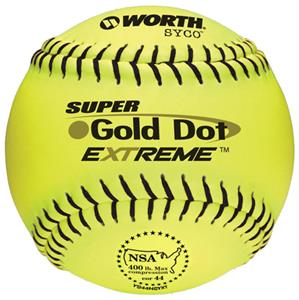"Worth 12"" NSA Gold Dot SYCO Slowpitch Softballs"