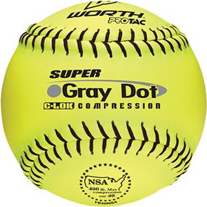 "Worth 12"" NSA Gray Dot ProTac Slowpitch Softballs"