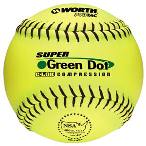 "Worth 11"" NSA Green Dot ProTac Slowpitch Softballs"