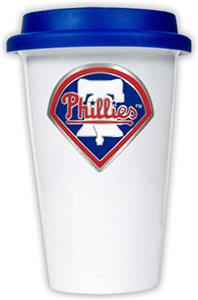 MLB Phillies 12oz Double Wall Ceramic Cup Blue Lid