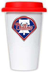 MLB Phillies 12oz Double Wall Ceramic Cup Red Lid