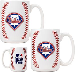 MLB Phillies 15oz. Ceramic Gameball Mug Set of 2