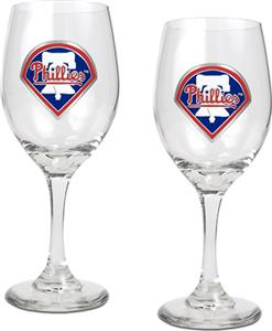 MLB Philadelphia Phillies 2 Piece Wine Glass Set