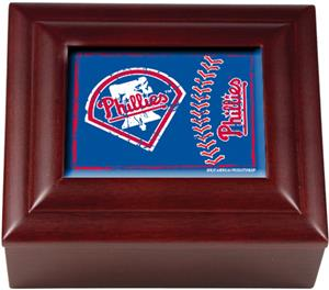 MLB Philadelphia Phillies Mahogany Keepsake Box