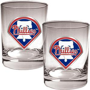MLB Phillies 2 piece 14oz Rocks Glass Set