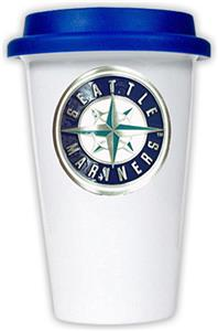 MLB Mariners 12oz Double Wall Ceramic Cup Blue Lid