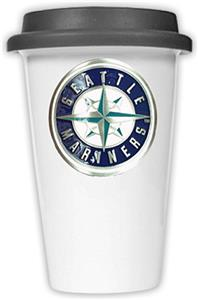 MLB Mariners 12oz Dbl Wall Ceramic Cup Black Lid