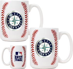 MLB Mariners 15oz. Ceramic Gameball Mug Set of 2