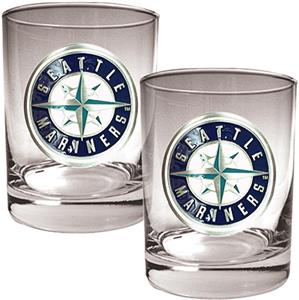 MLB Seattle Mariners 2 piece 14oz Rocks Glass Set