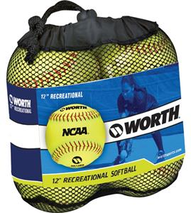 "Worth 12"" NCAA Outdoor Training Softballs 4 Pack"