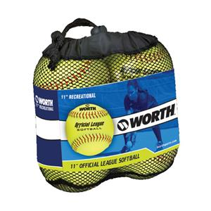 Worth 11&quot; Official League Dura-Hyde Softballs 4 Pk