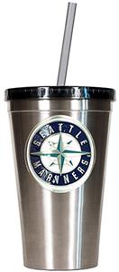 MLB Mariners 16oz Stainless Steel Tumbler w/Straw
