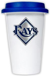 MLB Devil Rays 12oz Dbl Wall Ceramic Cup Blue Lid