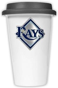 MLB Devil Rays 12oz Dbl Wall Ceramic Cup Black Lid