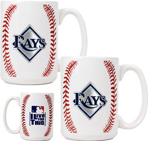 MLB Devil Rays 15oz. Ceramic Gameball Mug Set of 2