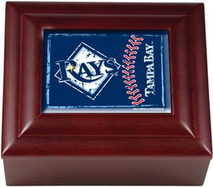 MLB Tampa Bay Rays Mahogany Keepsake Box