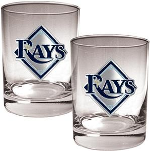 MLB Tampa Bay Rays 2 piece 14oz Rocks Glass Set