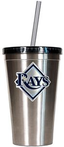 MLB Devil Rays 16oz Stainless Tumbler w/Straw