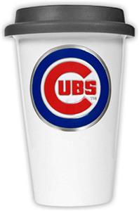 MLB Chicago Cubs Dbl Wall Ceramic Cup Black Lid