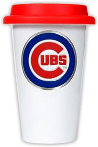 MLB Chicago Cubs Dbl Wall Ceramic Cup Red Lid