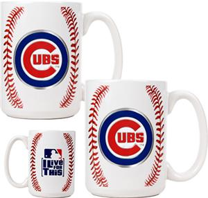 MLB Chicago Cubs Ceramic Gameball Mug Set of 2