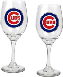 MLB Chicago Cubs 2 Piece Wine Glass Set