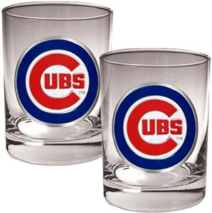 MLB Chicago Cubs 2 piece 14oz Rocks Glass Set