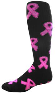 Cancer Awareness Black Pink Ribbon Socks (12+)
