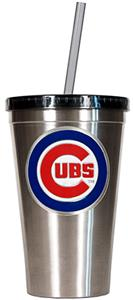 MLB Chicago Cubs 16oz Stainless Tumbler w/Straw