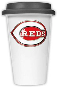 MLB Cincinnati Reds Dbl Wall Ceramic Cup Black Lid