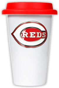 MLB Cincinnati Reds Dbl Wall Ceramic Cup Red Lid