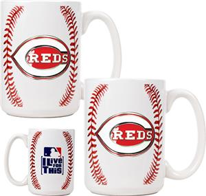 MLB Cincinnati Reds Ceramic Gameball Mug Set of 2
