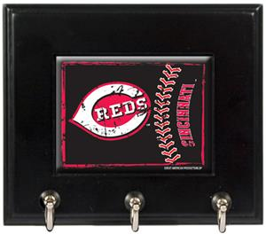 MLB Cincinnati Reds Wood Keyhook Rack