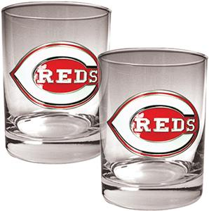 MLB Cincinnati Reds 2 piece 14oz Rocks Glass Set
