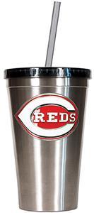 MLB Cincinnati Reds 16oz Stainless Tumbler w/Straw