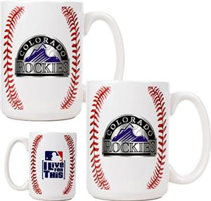 MLB Colorado Rockies Ceramic Gameball Mug Set of 2
