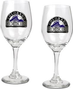 MLB Colorado Rockies 2 Piece Wine Glass Set