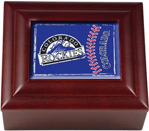 MLB Colorado Rockies Mahogany Keepsake Box