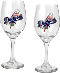 MLB Los Angeles Dodgers 2 Piece Wine Glass Set