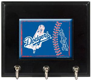 MLB Los Angeles Dodgers Wood Keyhook Rack