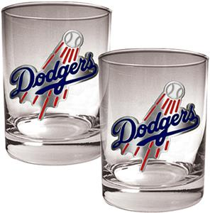 MLB Dodgers 2 piece 14oz Rocks Glass Set