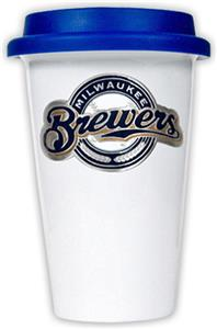 MLB Brewers Double Wall Ceramic Cup with Blue Lid
