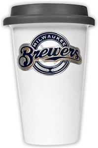 MLB Brewers Double Wall Ceramic Cup with Black Lid