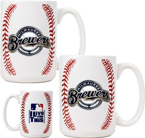 MLB Brewers Ceramic Gameball Mug Set of 2