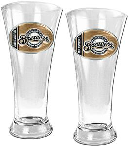 MLB Milwaukee Brewers 2 Piece Pilsner Glass Set