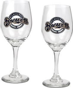 MLB Milwaukee Brewers 2 Piece Wine Glass Set