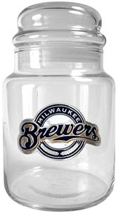 MLB Milwaukee Brewers Glass Candy Jar