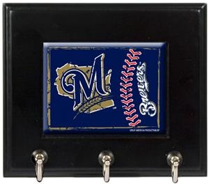 MLB Milwaukee Brewers Wood Keyhook Rack