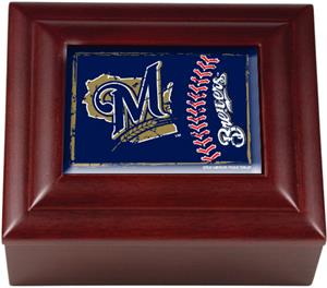 MLB Milwaukee Brewers Mahogany Keepsake Box